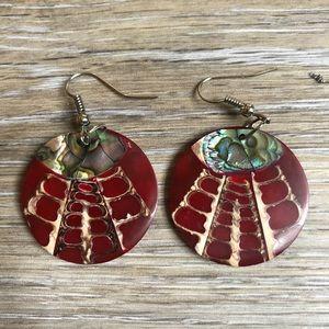 Sea snail abalone earrings